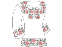 Заготовка женской туники для вышивки бисером  «Розы монохром 99 Ч»