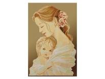 Схема вышивки бисером «Мать и дитя» коричневый фон (30x50)