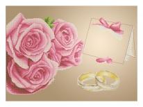 Схема вышивки бисером «Свадебная метрика с розами» (A2)