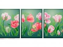 Схема вышивки бисером «Нежные тюльпаны» (90х40)
