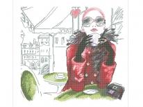 Схема вышивки бисером «Девушка с кофе» (40x45)