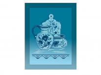 Схема вышивки бисером «Кухонный натюрморт-4 голубой фон» (A4)