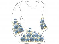 Заготовка женской туники для вышивки бисером  « Синий маков цвет»