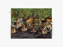 Схема вышивки бисером «Тигры у воды» (A3)