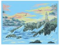Схема вышивки бисером «Маяк на берегу моря» (A1)