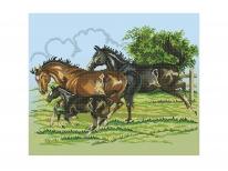 Схема вышивки бисером «Семья лошадей» (40x45)