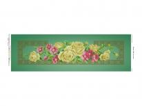 Схема вышивки бисером «Желтые розы» зеленый фон (30x100)
