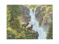 Схема вышивки бисером «Олени у водопада» (A1)