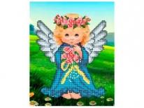 Схема вышивки бисером «Ангелочек с цветами» (A5)