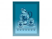 Схема вышивки бисером «Кухонный натюрморт-3 голубой фон» (A4)