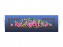 Схема вышивки бисером «Розовые розы» синий фон (30x100)
