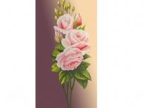 Схема вишивки бісером «Рожева троянда на бежевому фоні» (40x100)
