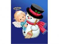 Схема вишивки бісером «Ангел і сніговик» (A5)