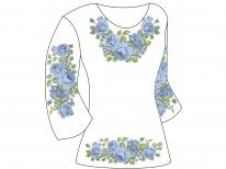 Заготовка женской туники для вышивки бисером «Голубое цветочное разнообразие»