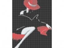 Схема вышивки бисером «Дама в красной шляпе» (40x45)