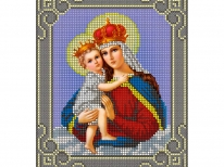 Схема вышивки бисером «Мадонна с младенцем» Серая рамка (A5)