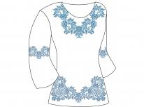 Заготовка женской туники для вышивки бисером  «Синий вечер»