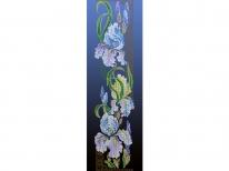 Схема вышивки бисером «Ирисы» синий фон (30x100)