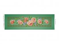 Схема вышивки бисером «Кремовые розы» зеленый фон (30x100)