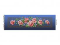 Схема вышивки бисером «Кремовые розы» синий фон (30x100)