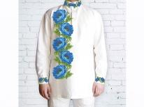 Заготовка чоловічої сорочки для вишивки бісером «107 голубі маки»