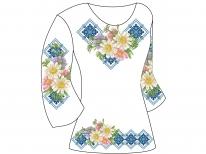 Заготовка женской туники для вышивки бисером  «Ромашки в голубом орнаменте»