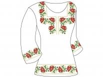 Заготовка женской туники для вышивки бисером  «Маки в орнаменте 105»