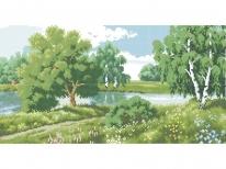 Схема вышивки бисером «Пейзаж у реки» (30x50)