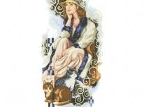 Схема вышивки бисером «Девушка с кошками» (A1)
