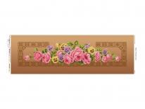Схема вышивки бисером «Розовые розы»  коричневый фон (30x100)