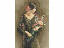 Схема вышивки бисером «Испанка с цветами» (A1)