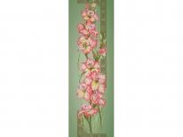Схема вышивки бисером «Гладиолусы» зеленый фон (30x100)