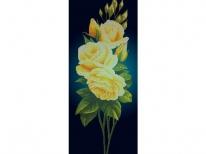 Схема вышивки бисером «Желтая роза на синем фоне» (40x100)