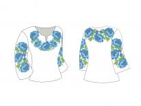 Заготовка женской блузы «Синие маки 107 Г»