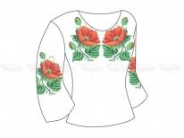 Заготовка женской блузы  «Маки 16» РАСПРОДАЖА
