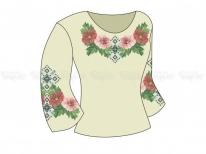 Заготовка женской блузы  «Мальвы в орнаменте» РАСПРОДАЖА