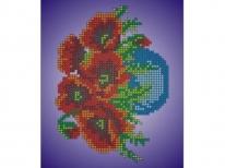 Схема вышивки бисером «Маки в вазочке» (A5)