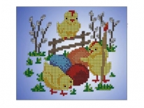 Схема вышивки бисером «Цыплята» (A5)