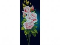 Схема вышивки бисером «Розовая роза на синем фоне» (40x100)