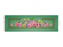 Схема вышивки бисером «Розовые розы» зеленый фон (30x100)