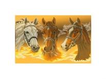 Схема вышивки бисером «Три коня» (30x50)