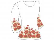 Заготовка женской туники для вышивки бисером  «Красный маков цвет»
